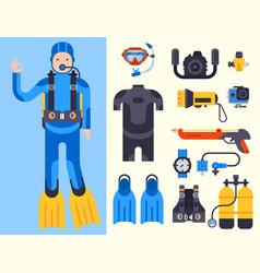 set of flat elements for spearfishing diving vector image