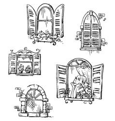 Set of hand drawn windows vector image vector image