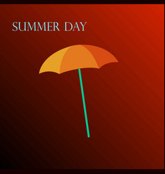 yellow umbrella on a red background vector image vector image