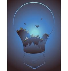 City in a Lightbulb vector image