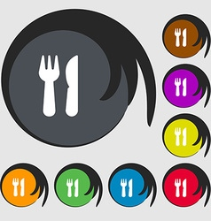 crossed fork over knife icon sign Symbols on eight vector image vector image