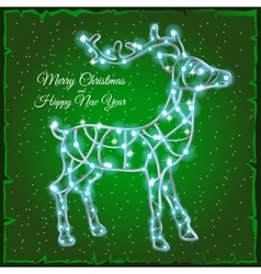 Deer of garlands on a green background vector image