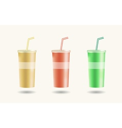 Disposable cups for beverages with straw vector image