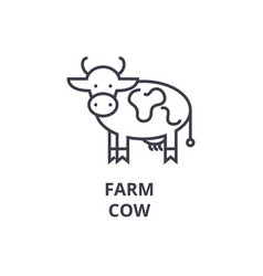 farm cow line icon outline sign linear symbol vector image