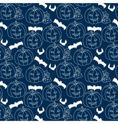 Halloween blue seamless pattern with pumpkins vector image vector image