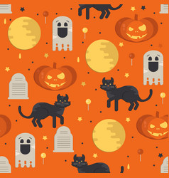 halloween concept seamless pattern vector image vector image