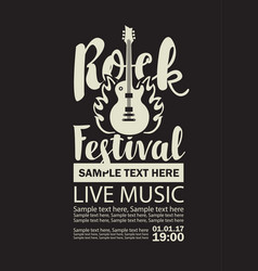 poster for a rock festival with guitar on fire vector image vector image