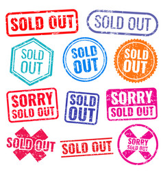 sold out stamps with grunge texture isolated vector image