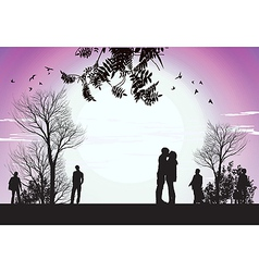 husband and wife kiss in the park vector image vector image