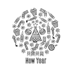 New Year sketch in a circle design vector image vector image