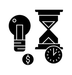 time management with hourglass icon vector image vector image