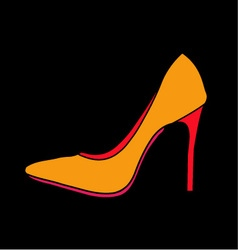 Womens shoe graphic on black background vector image