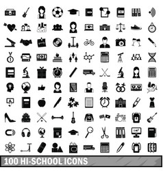 100 hi-school icons set simple style vector