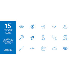 15 cuisine icons vector