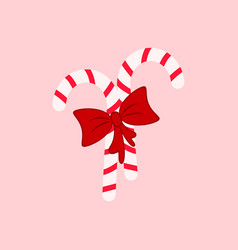 a candy cane and bow icons christmas vector image