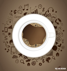 A cup of coffee with application icon vector image