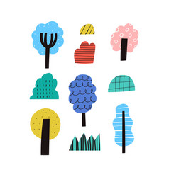 abstract trees and bushes collection clipart vector image