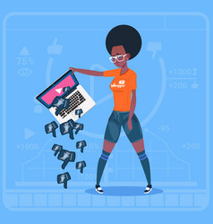 African american girl hold laptop with thumb down vector