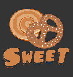 Bakery sweet cookies dark background vector