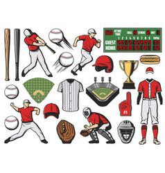 Baseball sport ball bat and player softball game vector