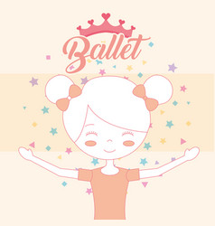 beautiful ballerina in bun hair crown ballet vector image
