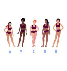 Bodypositive female body types vector