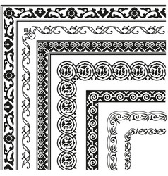border lines ornamental vinage set with corner vector image
