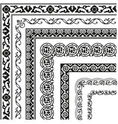 Border lines ornamental vinage set with corner vector