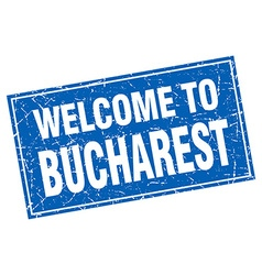 Bucharest blue square grunge welcome to stamp vector