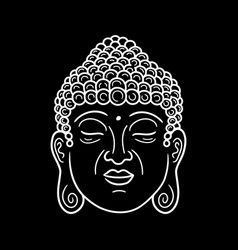 Buddha portrait in black background hand vector