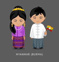 Burmese in national dress with a flag vector