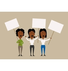 Cartoon businesswomen protesters with placards vector