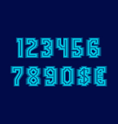 Cascade numbers and currency signs with blue neon vector