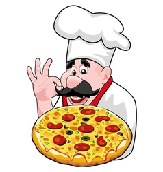 Chef with italian pizza vector