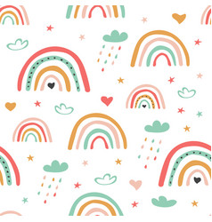 childish scandinavian seamless pattern with cute vector image