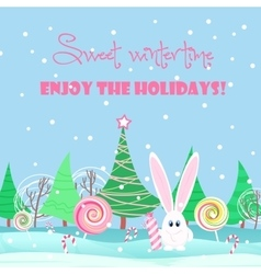Christmas card background Rabbit with sweets vector image