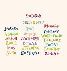 colorful lettering set for calendar vector image