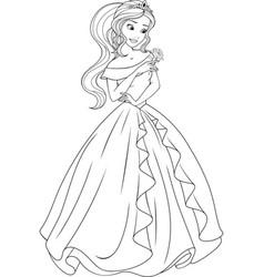 Coloring beautiful princess vector
