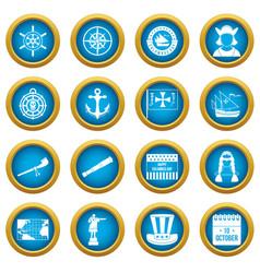 Columbus day icons blue circle set vector