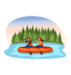 Couple male female character descent raft river vector