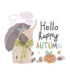 cute elephant under umbrella autumn time rainy vector image