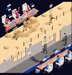 Cyber sport isometric background vector