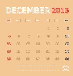 December 2016 monthly calendar template vector image
