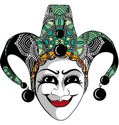decorated venetian carnival jester mask vector image