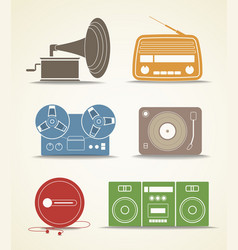Digital and analogue music players icons vector image