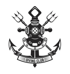 diving club vintage diver helmet and anchor vector image