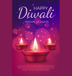 diwali light festival indian religion diya lamps vector image
