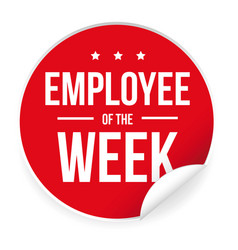 employee of the week label sticker vector image