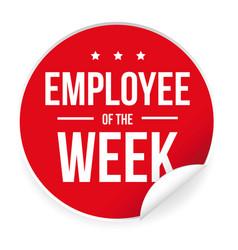 Employee of the week label sticker vector