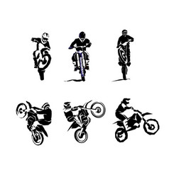 extreme bike big set 6x motocross vector image